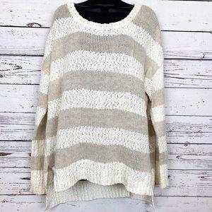 MASSINI tan cream striped sweater
